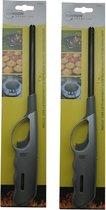 2x stuks gas/bbq/keuken/kaarsen aanstekers van 27 cm  Stevige kwaliteit - Storm proof - Kinderslot