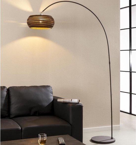 Fraaai® vloerlamp Halennia - booglamp - industrieel - karton - metaal - bruin - 200 cm - woonkamer