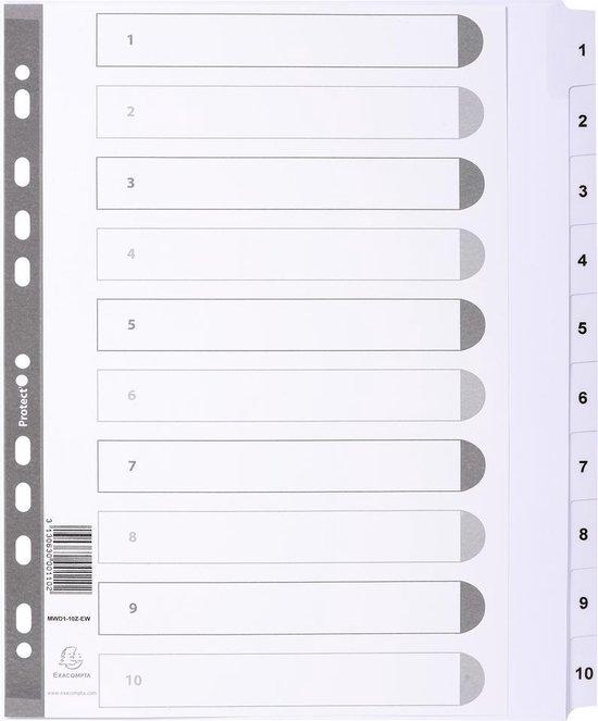 25x Bedrukte tabbladen karton 160g - geplastificeerde tabs - 10 tabs - 1 tot 10 - A4 maxi, Wit