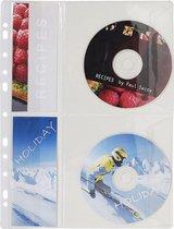 6x Pak van 5 geperforeerdeshowtassen voor CD met klep PVC 14/100ste - A4, Transparant