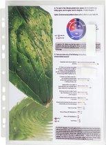 4x Pak van 10 geperforeerde showtassen met balg - opening aan zijkant - gladde PP 20/100ste - A4, Transparant