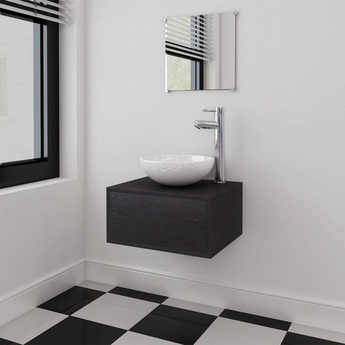 Badkamermeubelset met wasbak zwart 3-delig