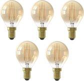 5 stuks Calex LED kogellamp E14 3.5W 2100K Goud dimbaar