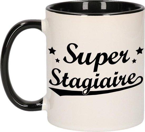 Super stagiaire cadeau mok / beker met sterretjes 300 ml - keramiek - afscheidscadeau - koffiemok / theebeker