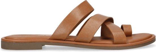 Sacha - Dames - Bruine leren slippers - Maat 36