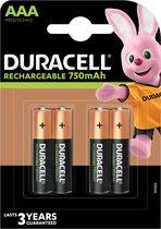 Duracell Rechargeable AAA 750mAh batterijen, verpakking van 4