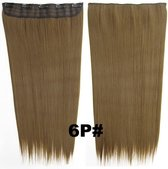 Clip in hairextensions 1 baan straight bruin 6P#