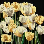 Thea Gouverneur - Borduurpakket met telpatroon - 3065.05 - Voorgesorteerde DMC Garens - Tulpen - Zwart Aida - 24 cm x 24 cm - DIY Kit