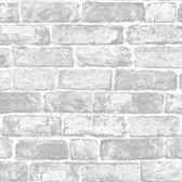 Kids@Home | stenen muur | wit, grijs | behangpapier 0,53x10m