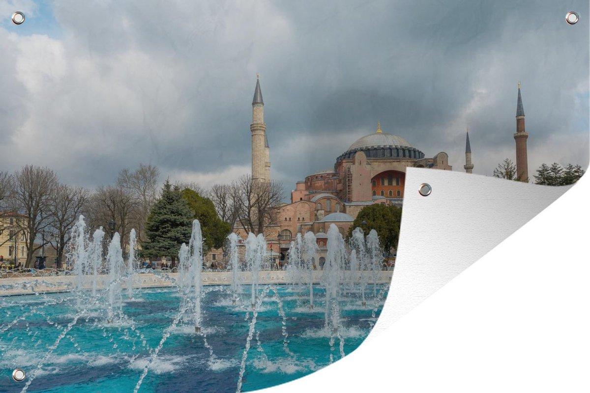 Tuinposter Fontein - Fontein in Istanbul 180x120 cm - Tuindoek/Buitencanvas/Schilderijen voor buiten (tuin decoratie) XXL / Groot formaat!