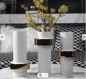 Set van Drie Cilindrische Vazen- Keramiek - Grote Vazen :  3 st. x 34,3x14,6 cm