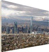 Santiago op hout - 40x30 - Donkere wolken boven de hoofdstad van Chili Santiago Vurenhout met planken - foto/schilderij op hout
