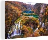 Prachtige herfstkleuren van het Nationaal park Plitvicemeren Canvas 120x80 cm - Foto print op Canvas schilderij (Wanddecoratie woonkamer / slaapkamer)