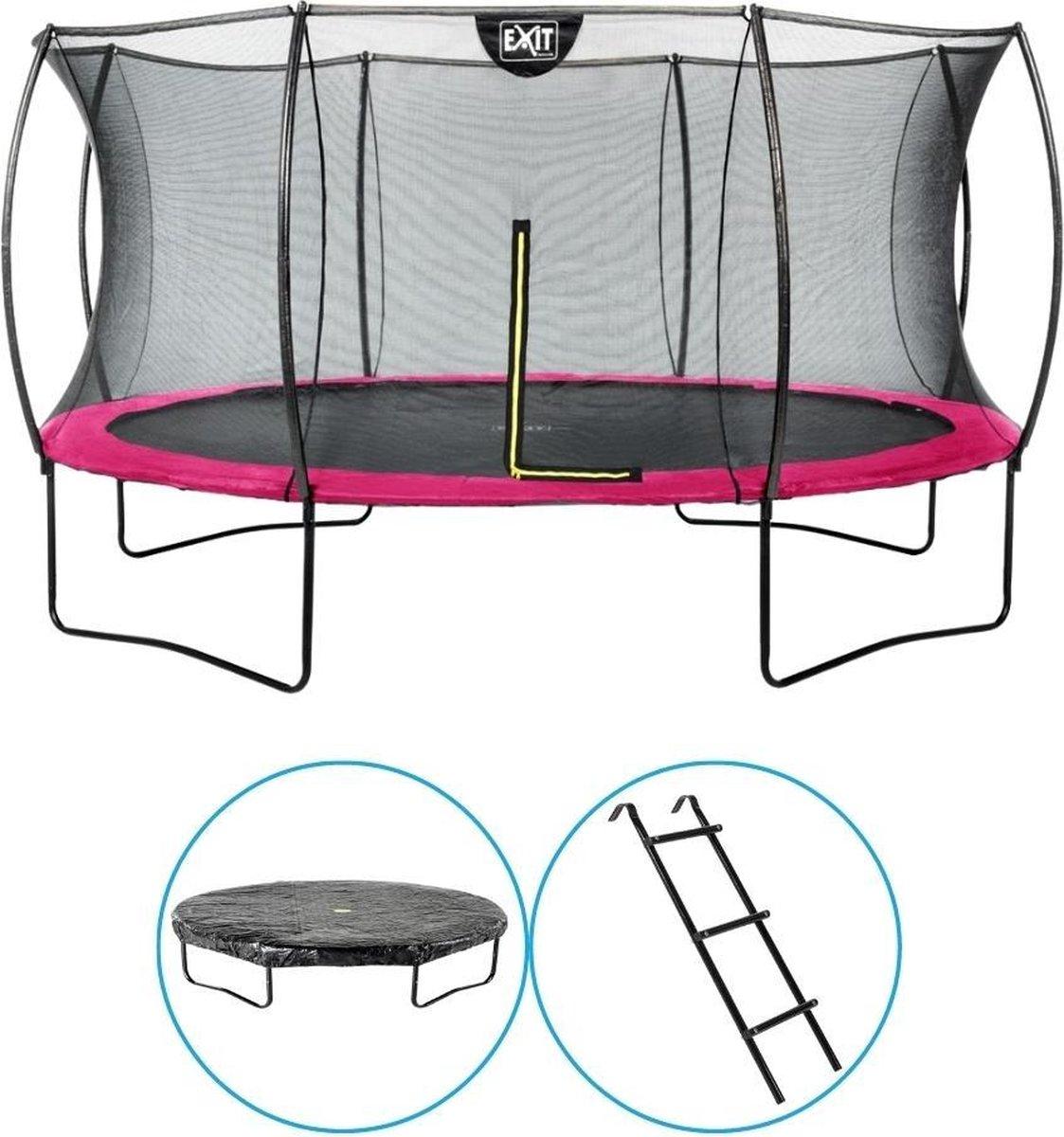 EXIT Toys - Trampoline Met Veiligheidsnet - Op Poten - Silhouette - Rond - ø427cm - Roze - Inclusief Ladder en Afdekhoes