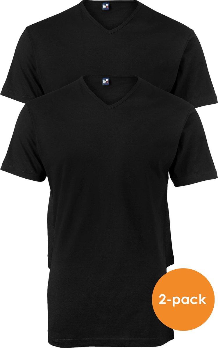 Alan Red T-shirts Vermont (2-pack) - V-hals - zwart -  Maat XXXL