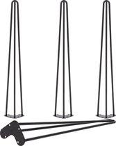 4 x 86 cm - Hairpin Retro Pootjes / Tafelpoten / Pinpoten - 3 Ledig - Zwart - Incl. Vloerbeschermers