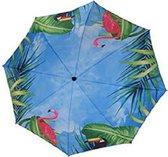 4gardenz Flamingo strandparasol met knikarm 200 cm - Blauw/Roze
