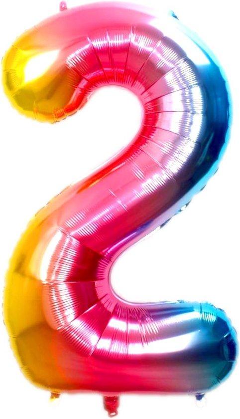 Folie Ballon Cijfer 2 Jaar Regenboog 36Cm Verjaardag Folieballon Met Rietje