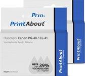PrintAbout - Inktcartridge / Alternatief voor de Canon PG-40 / Zwart + 3 Kleuren
