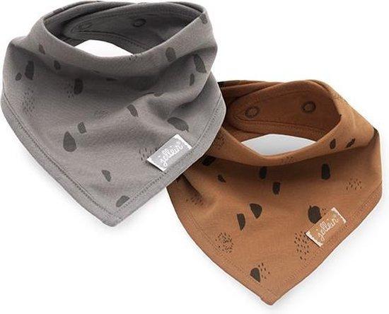 Product: Jollein Slabbetje Bandana - Spot - Storm Grey/Caramel - 2 Stuks, van het merk Jollein