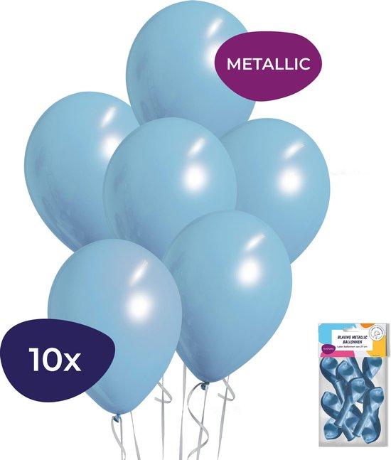 Blauwe Ballonnen - Metallic Ballonnen - Helium Ballonnen - Geboorte Versiering Jongen - 10 stuks