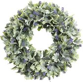Clayre & Eef Decoratie Krans Lavendel Kerstkrans - 29 cm - Aubergine