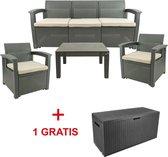 MaxxGarden Rattan Loungeset - 5 persoons zithoek - Design wicker tuinset - Tijdelijk extra kussenbox