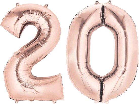 Ballon Cijfer 20 Jaar Roségoud 36Cm Verjaardag Feestversiering Met Rietje