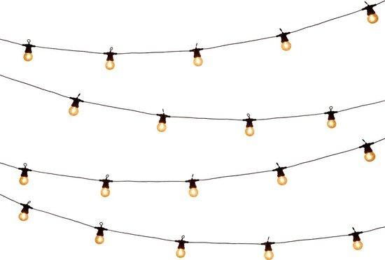 Tuin lichtsnoer met filament lampjes van WDMT™ | 13,55 meter lang | 200 stuks LED lamp tuin verlichting snoer | Sfeervolle tuinverlichting