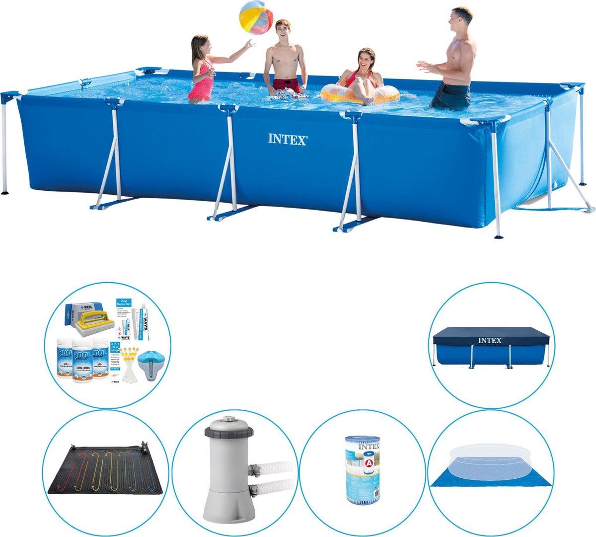 Zwembad Combi Deal - Intex Frame Pool Rechthoekig 450x220x84 cm