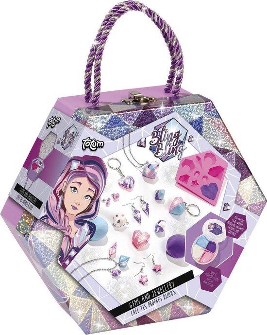 Totum Bling Bling Gems Jewellery - diamantsieraden en accessoires maken met foam dough - in luxe bewaarkoffer