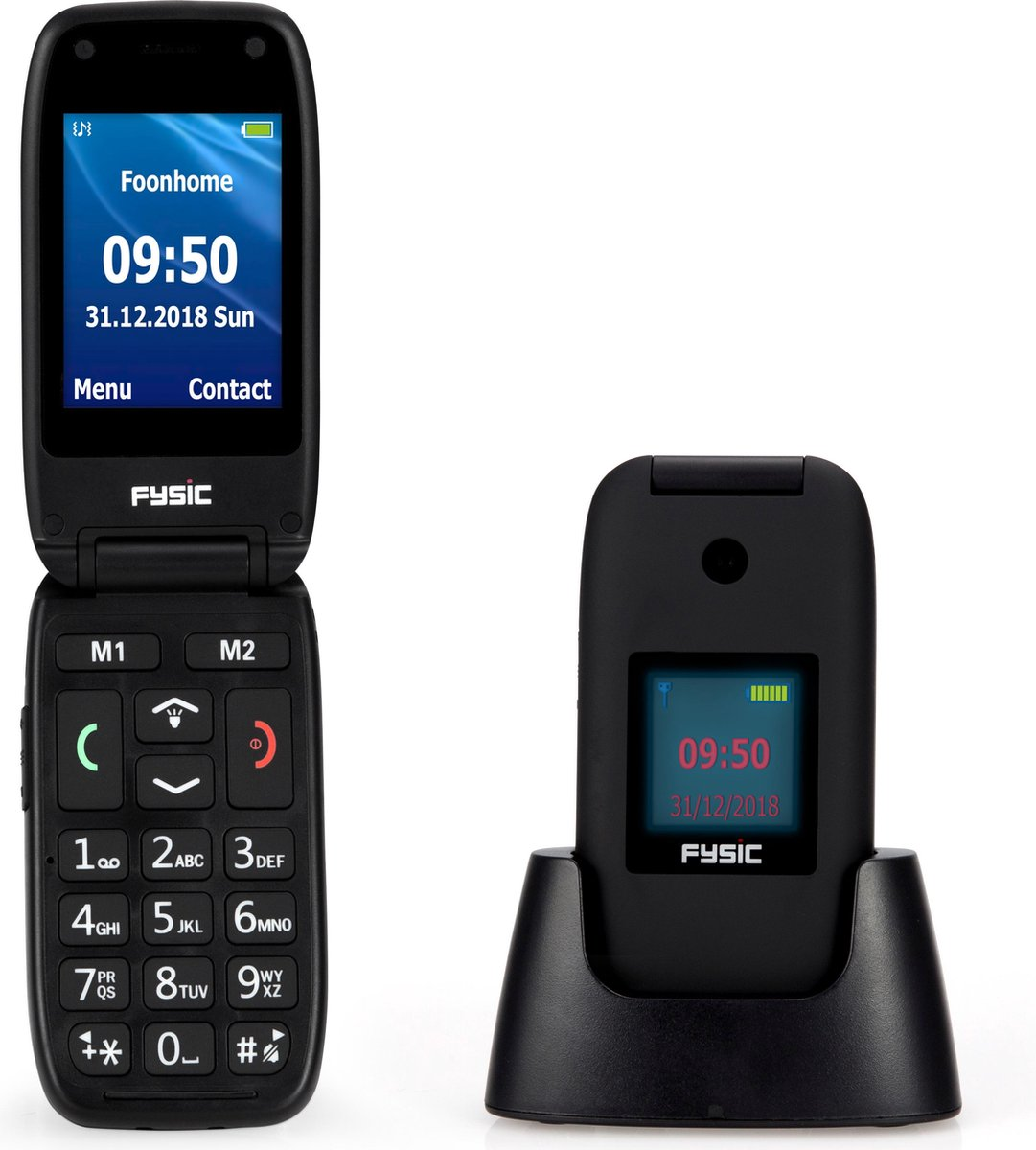 """Fysic FM-9260 Senioren mobiele klaptelefoon – 2.4"""" kleurendisplay, FM radio en SOS functie – Zwart"""