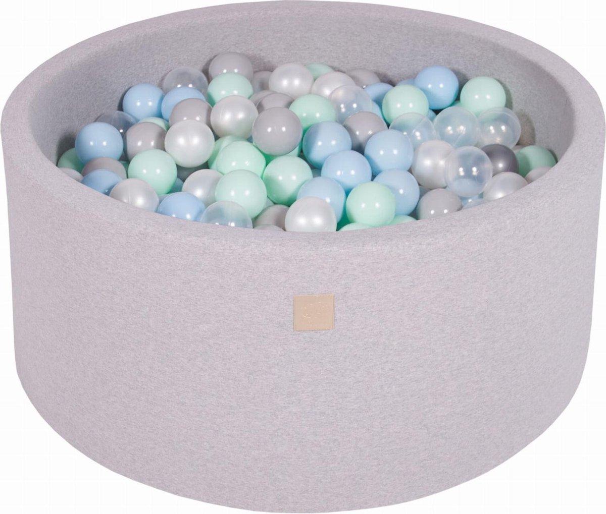 Ronde Ballenbak set incl 300 ballen 90x40cm - Licht Grijs: Parel Wit, Grijs, Transparant, Mint, Babyblauw