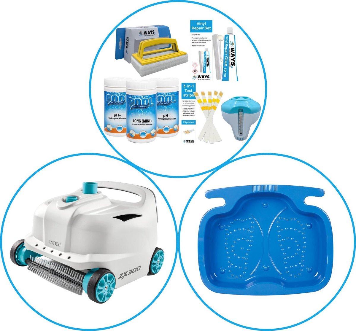 Zwembad Accessoirepakket 3-delig - WAYS Onderhoudspakket & Automatische Zwembad stofzuiger Deluxe & Voetenbad