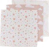Meyco 3-pack luiers - Feather-Clouds-Dots - roze