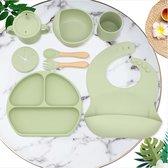 Kinderservies set - 8 delig - Groen - Baby servies set - Baby servies - Kinderbord - Kinderbestek - Kinderservies - Kinderbord met zuignap - Bord met zuignap - Drinkbeker