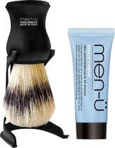 Men-U Scheerkwast  Barbiere Pure Bristle - Zwart + Standaard + Scheercrème