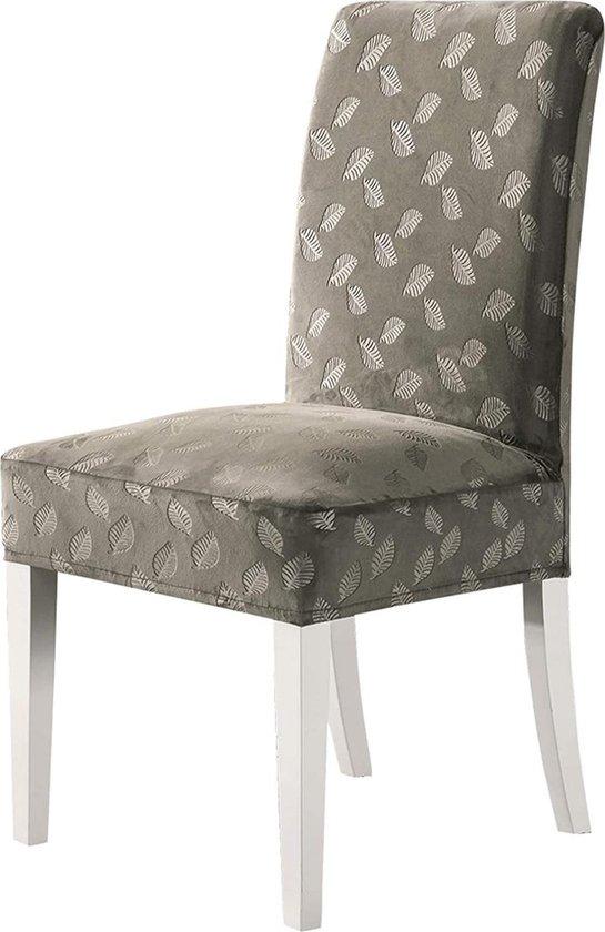 Stoelhoezen Eetekamerstoelen - Zinaps Crystal fluwelen stoelhoezen met prachtig patroon, stretchstoel, modern en duurzaam, cappuccino, pakket van 4 (WK 02130)