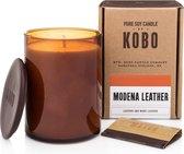 KOBO Geurkaars Woodblock Modena Leather 425 g