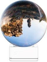 Navaris glazen bol voor fotografie - Fotobol met standaard - Heldere kristallen bal met voet - Lensball Ø 70 mm