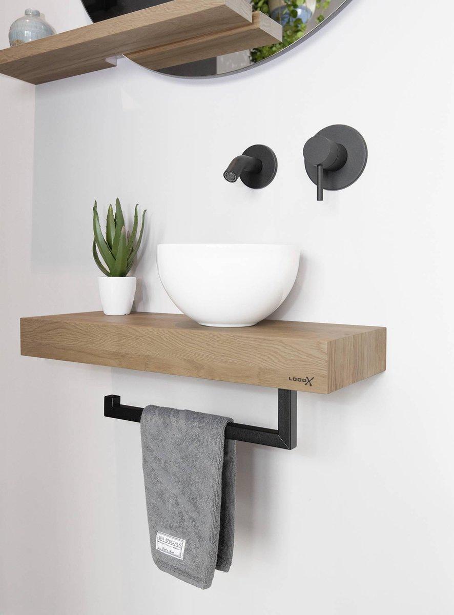 Looox Wood mini base shelf met waskom en handdoekhouder 60cm Old grey/Wit