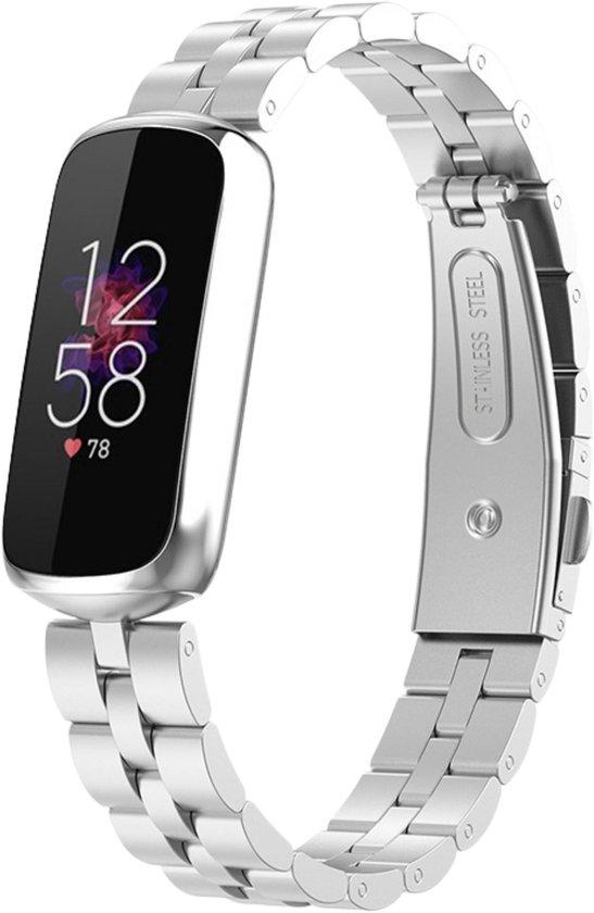 Metaal schakelbandje zilver geschikt voor Fitbit Luxe