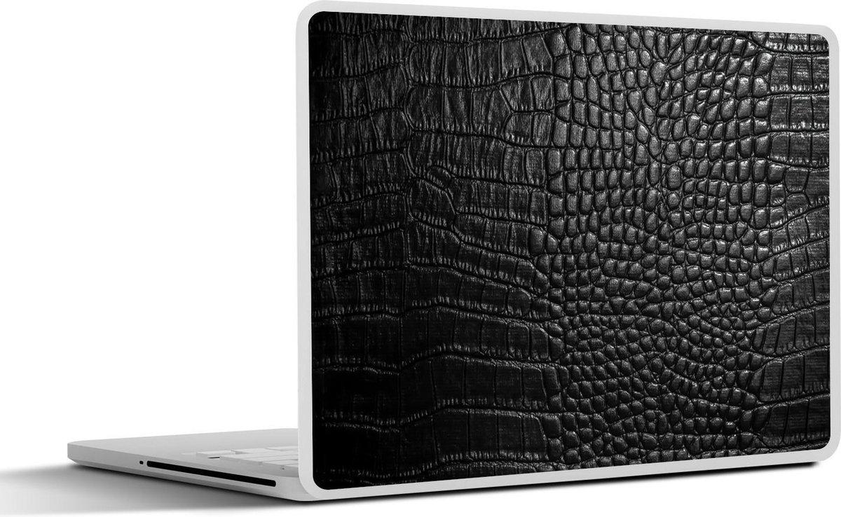 Laptop sticker - 15.6 inch - Donkergrijze lederen achtergrond
