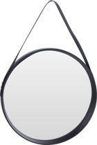 Zwarte ronde decoratie wandspiegel 51 cm - Industriele spiegel voor in de hal, badkamer of toilet