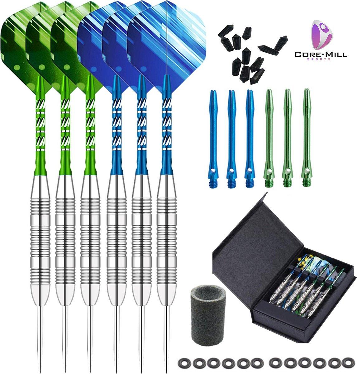 Core Mill - Dartpijlen - Dartpunt slijper - 2 sets - Luxe verpakking - 23gram - Dart Flights - Darts - IJzeren punt - Steeltips - O-Ringen - Luxe Dartpijlen
