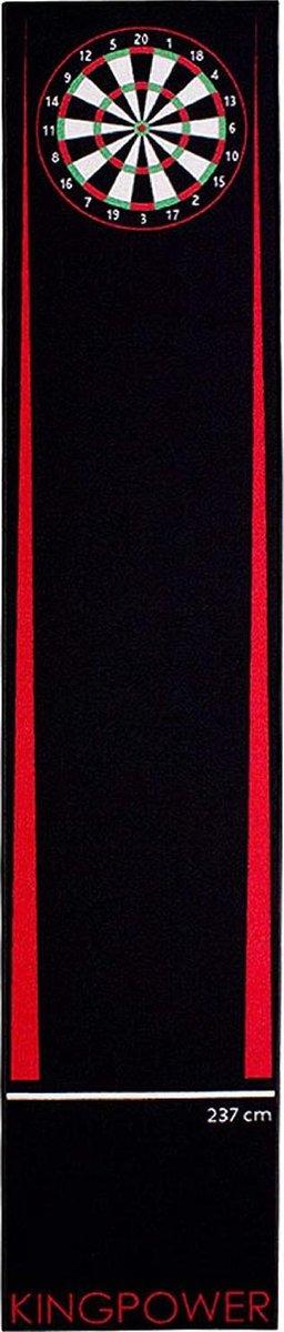 dartmat -Kingpower Dart Carpet Red Target Oche Mat Steel Darts Dartboard Accessories Dart Carpet Darts Throw Line Protection Rubber Floor Dartboard 290 x 60 cm- (WK 02127)
