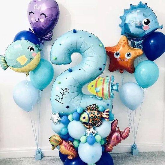 Ballonnen Decoratie Zeedieren - Verjaardag 2 jaar - Zeedieren Feestje - Folieballonnen - Visjes - Sea World