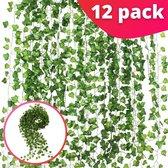 Klimop Slinger Realistisch 12 Stuks - Kunstplant/Kunsthaag - Backdrop Decoratie Plant voor Huis en Tuin - Kunst Hangplant - Klimop Kunstplanten voor Binnen en Buiten - 210cm Lang