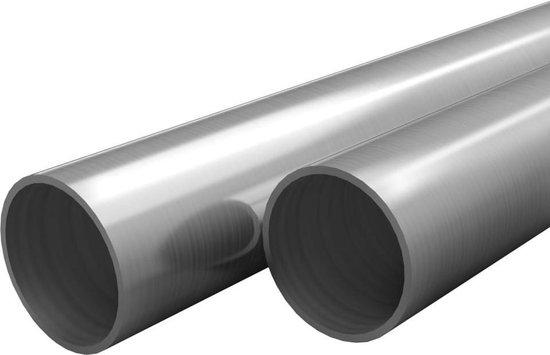 vidaXL Buizen rond V2A 2m Ø48x1,8mm roestvrij staal 2 st  VDXL_143194
