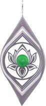 BlinQ Art Windspinner Lotus Bloem RVS - 251x177mm - Glaskogel 35mm groen